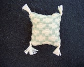 One Dollhouse Miniature Sage Green and Off-White Pillow (Square with Tassels)