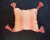 One Dollhouse Miniature Salmon (Peach) and Off-White Striped Pillow (Square with Tassels)
