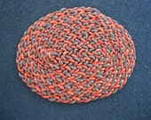 Dollhouse Miniature Oval Braided Rug (Burnt Orange and Browns)