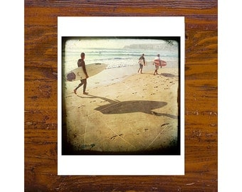 8x8 print [JCP 071] - Surfs Up, three surfers at Manly Beach
