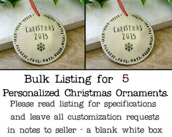 BULK DEAL - qty 5 - Personalized Silver Christmas Ornaments, Personalized Ornaments, 5 Ornaments, Name Ornament, Snowflake ornament