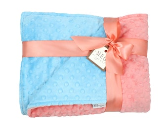 Coral & Turquoise Minky Dot Baby Girl Crib Blanket / Toddler Bed Cover, 663