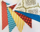 Carnival Circus Themed Bunting, Ready to Ship Fabric Flag Birthday Party Banner, Gender Neutral, Photo Prop, Weddings, Shower, Nursery