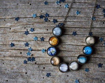 Solar System Necklace - Planet Jewelry, Unique Galaxy Science Jewellery by Jerseymamids - Cosmos, Space, Accessories, Wedding, Simple