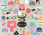 Cute Japanese Stickers Summer Theme Chiyogami Paper Stickers (S152) Yukata Bags Water Balloon Fish