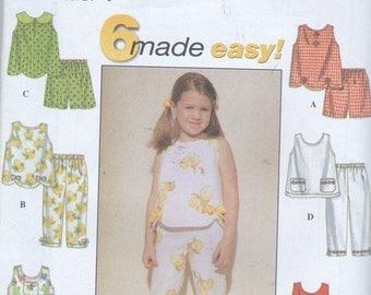 Easy Girls Sewing Pattern Simplicity 8676 Girls Capri Top Shorts Pants Size 5 6 6X