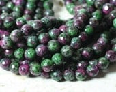 Ruby zoisite faceted round 8mm, one 15-inch strand (item ID RZFR8)