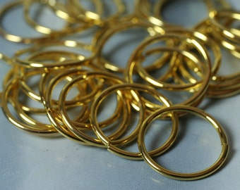 Gold plated large jump ring 16mm outer diameter 16g thick, 20 pcs (item ID YWFA00508GP)