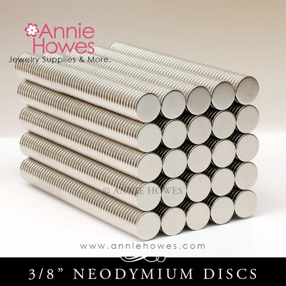 100 Neodymium Magnets - SMALL 3/8 Inch Diameter. Super Strong Skinny Magnets.