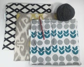 Reserved for Mari - Set of 3 Zippered Knitting Pouches