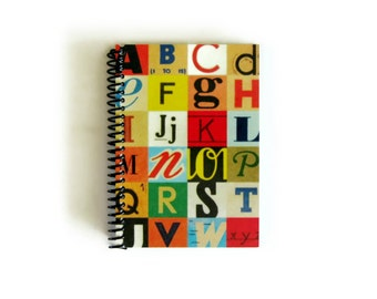 Alphabet Letters Back to School Writing Diary Journal, 4x6 Blank Notebook, Gifts Under 20, Sketchbook, Pocket Spiral Bound, Cute, A6, Paper