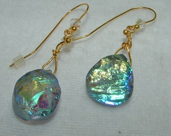 Iridescent Blue Green Earrings on Gold Filled Wires