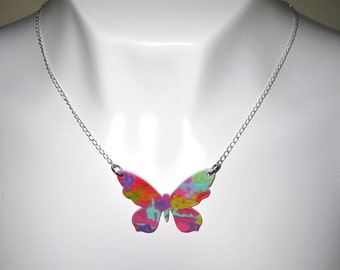 Butterfly Necklace Butterfly Jewelry Butterfly Pendant Necklace Butterfly Charm Necklace Colorful Silver Metal Chain Free Shipping US/Canada