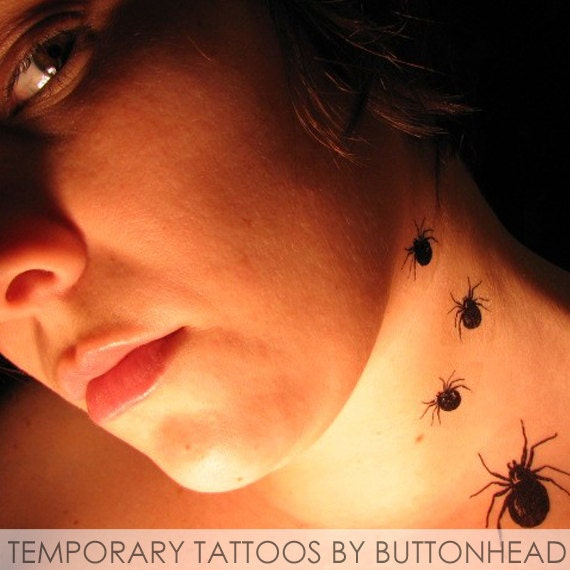 Spider temporary tattoo halloween costume fake by buttonhead for Halloween makeup tattoos