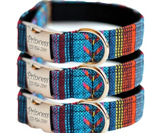 Engraved Woven Tribal Dog Collar - Aztec Personalized Collar - Woven Osage
