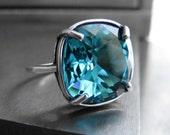 Aqua Crystal Ring, Teal Dark Aqua Swarovski Crystal Ring, Aqua Antique Silver Adjustable Ring, Indicolite Aqua Crystal Cocktail Ring 4470