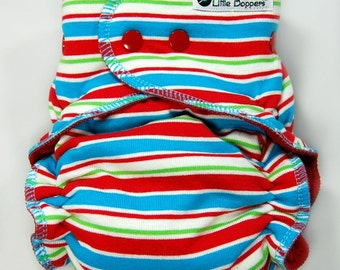 Cloth Diaper One Size Hybrid Fitted - OS Hybrid Cloth Nappy - Circus Stripes - Red Turquoise Blue Lime Green Striped Cloth Baby Diaper