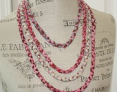 Four Strand Braided Fabric Necklace Brown Pink and Blue