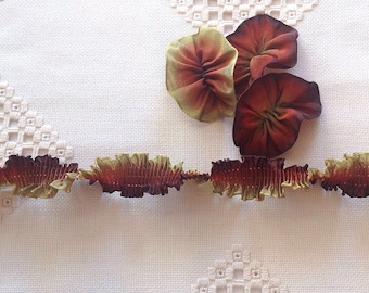 "Pleated French Ribbon Acetate Autumn Leaves Ombré 1 meter long 7/8"" wide #93"