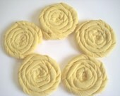 PIF - 5 Large Rolled Yellow Fabric Flowers - Wholesale, Rosettes,Fiber Jewelry, Headbands, Wreaths, Weddings, Sashes, Shoe Clips,Ect.