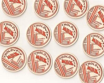 Vintage / Chocolate Milk Dairy Caps / One Dozen / Altered Art / Scrapbooking