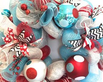 Retro Christmas Wreath, Red and blue Christmas Wreath, Holiday Wreath, Funky Holiday, Funky Christmas Wreath