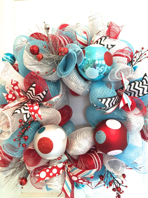 Retro Christmas Wreath Red and blue Christmas Wreath Holiday
