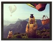 Wall Art, Hot Air Bearoons, Funny Animal Print 18x24 Print