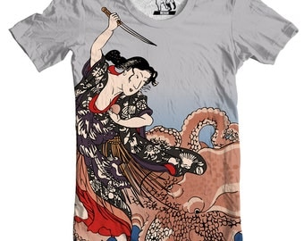Mens Battling the Octopus Men's Tee, T-Shirt, Graphic Tee Anime T Shirt Ancient Japanese Art Shirts, present to boyfriend, gift for brother