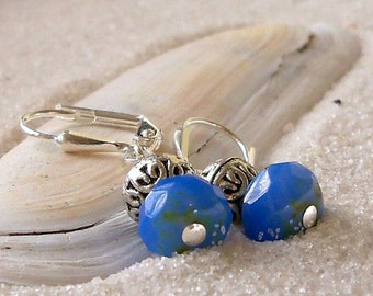 Short Earrings - Blue Earrings - Bead Earrings - Beaded Jewelry - Bead Jewelry - Cornflower Blue Earrings - Silver Earrings - Czech Glass