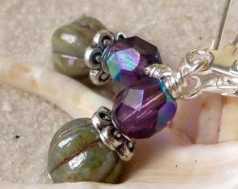 Glass Bead Jewelry - Glass Bead Earrings - Purple and Green Earrings - Amethyst and Soft Green Earrings - Women's Earrings - Short Earrings