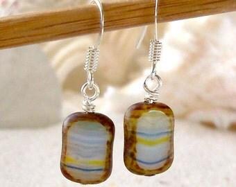 Dangle Earrings - Bead Earrings - Women's Earrings - Short Earrings - Blue, Yellow, White, and Brown Rectangle - Hurricane Glass Earrings