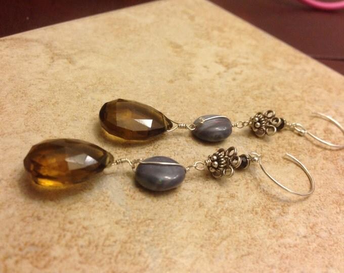 Smokey Quartz Opal and Bali Silver Earrings