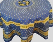 Blue Floral Tablecloth, Round Blue Tablecloth, French Tablecloth, Bastide