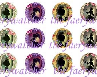 One Inch Fantasy Princess Pins, Princess Silouhette Magnets, Princess Flatbacks 12ct.