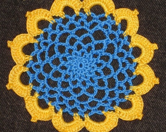 """New Handmade Crocheted """"83"""" Coaster/Doily in Blue Hawaii and Goldenrod"""
