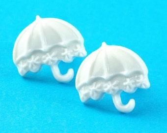 Cute Umbrella Stud Earrings - White - Kawaii Umbrella Post Earrings