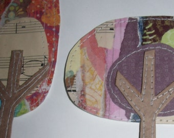 Set of 2 Fun, Funky and Whimsical Trees for Scrapbooking, Card Making, Crafts, Tags