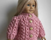 18 Inch Doll Clothes Knit Irish Fisherman Cardigan Sweater with Horseshoe Wishbone Cable in Pink - Handmade to Fit the American Girl Doll