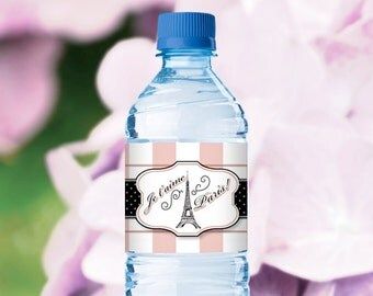 Paris Water Bottle Labels - Themed Party - Birthday Shower Cocktail Invitation - DIY Printable