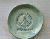 Peace Trinket Dish Peace Out Jewelry Dish Tea Bag Holder Peace Home Decor Ready to ship Aqua