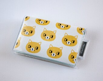 Handmade Vinyl Card Holder - Curious / card case, vinyl wallet, snap, women's wallet, small wallet, cat wallet, kittens, retro, cute
