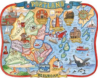 "Portland Maine City Neighborhood Map 11"" x 14"" Art Print"