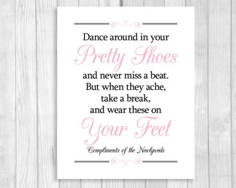 SALE Printable 8x10 Dance Around In Your Pretty Shoes Black, White and Light Pink Wedding Flip Flop Basket Digital Sign - Instant Download