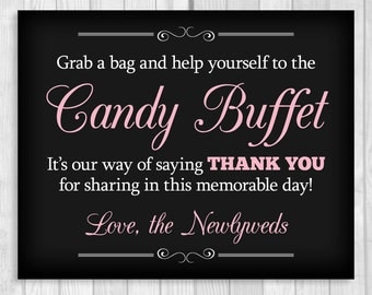 SALE Grab a Bag and Help Yourself to the Candy Buffet 8x10 Printable Black and White and Light Pink Wedding Sign - Instant Digital Download