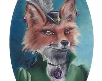 Mrs Fox ACEO Fox Art Animal ACEO Fox ATC Fantasy Art Victorian Fox in Clothes
