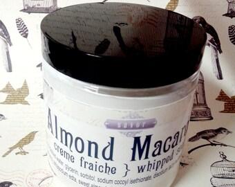 Whipped Soap Almond Macaron a Creme Fraiche Vegan 8 oz Soap in a Jar