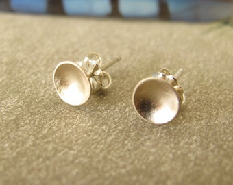 tiny 14k Gold Studs - gift for her - organic circles solid gold with sterling silver post & nut minimal modern