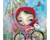 Ladybug on Bike - Pop Surrealism Print - by Heather Renaux-unframed