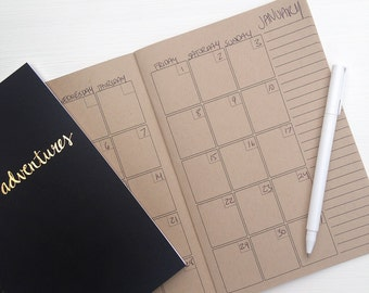 undated kraft monthly planner | two pages per month and dot grid pages for journaling | recycled paper